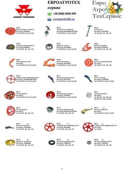 pezzi di ricambi zapchasti MASSEY FERGUSON per pressa per balle MASSEY FERGUSON 10/8, 15/8, 20/8, 120, 124, 128, 224