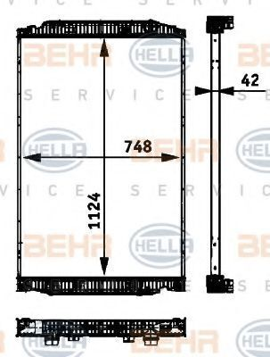 radiatore di raffreddamento motore IVECO 41214447.8ML376 724-251.41214448.8MK376 721-741.NIS 63329A. BEHR per camion IVECO STRALIS nuovo