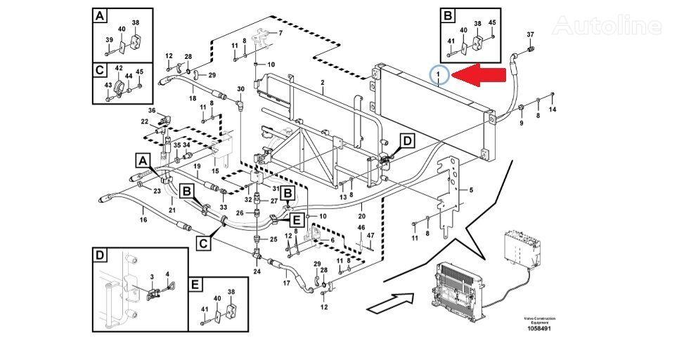 radiatore di raffreddamento motore VOLVO Radiator gidravliki (Hydraulic oil cooler) per pala gommata VOLVO L220G nuovo